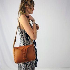 Vtg 70's Tooled Leather Shoulder bag O/S